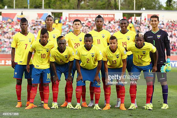 Ecuador stands for a photo before their FIFA U17 Men's World Cup Chile 2015 group D match between Honduras and Ecuador at Estadio Fiscal de Talca on...