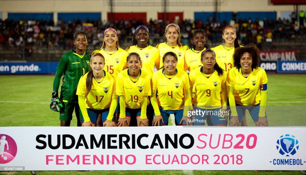 Ecuador Team during between Ecuador vs Argentina, played at the Fernando Guerrero Stadium by the Sudamericano female U20, in Riobamba, Ecuador, Saturday, January 13, 2018.