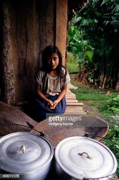 Ecuadoramazon Rainforest Rio Napo Near Coca House On Stilts Local Indian Girl