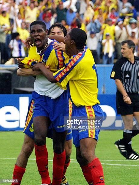 Ecuadoran Agustin Delgado celebrates his goal 24 April 2001 in Quito El ecuatoriano Agustin Delgado festeja su gol el segundo gol de su equipo en...