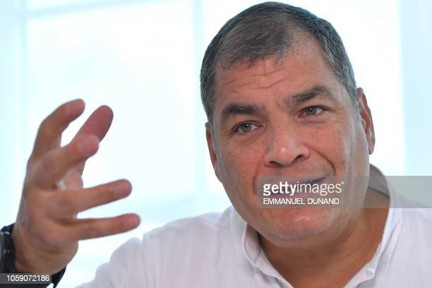 Ecuadoran former President Rafael Correa gestures during an interview with Agence FrancePresse in OttigniesLouvainla Neuve on November 8 2018 An...