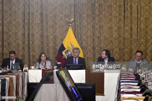 Ecuadoran President Lenin Moreno announces the removal of Vice President Jorge Glas at a cabinet meeting in Quito on January 3 2018 Ecuadoran...