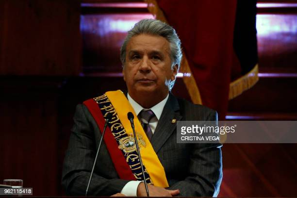 Ecuadoran President Lenin Moreno delivers his presidency's first year report before the National Assembly in Quito on May 24 2018
