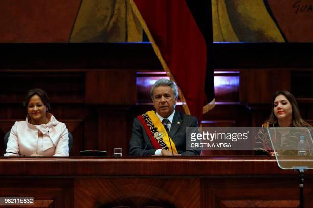 Ecuadoran President Lenin Moreno flanked by the president of the Ecuadoran National Assembly Elizabeth Cabezas and Ecuadoran Vice President Maria...