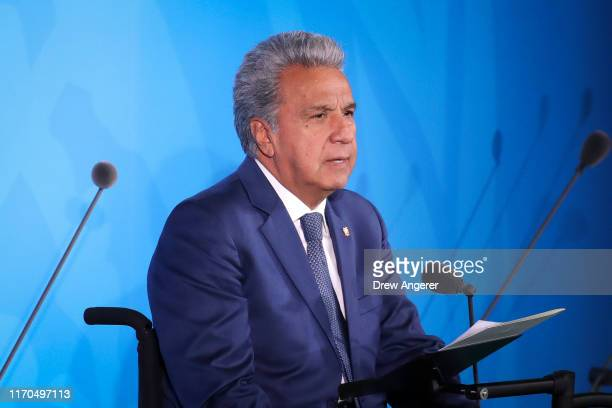 Ecuadoran President Lenin Moreno speaks at the United Nations summit on climate change September 23, 2019 in New York City. While the U.S. Will not...