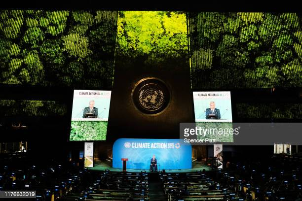 Ecuadoran President Lenín Moreno speaks at the United Nations summit on climate change September 23, 2019 in New York City. While the U.S. Will not...