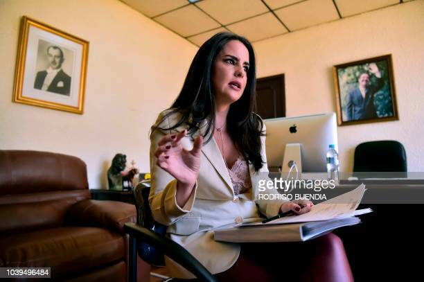 Ecuadoran rightwing congresswoman Paola Vintimilla speaks during an interview with AFP in Quito on September 24 2018 According to a confidential...