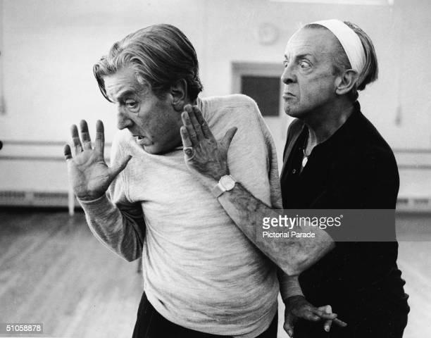 Ecuador-born British choreographer Sir Frederick Ashton and Australian-born ballet dancer and actor Sir Robert Helpmann rehearse their roles as The...