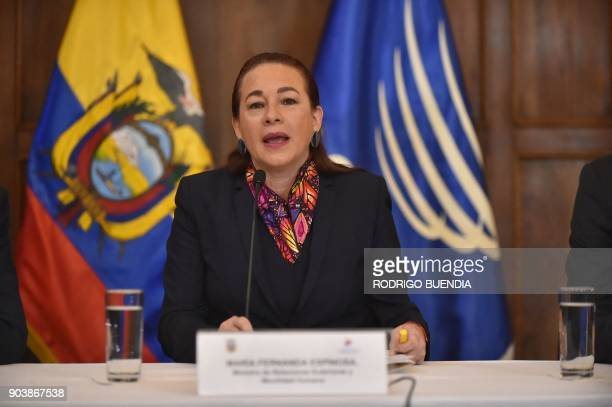 Ecuadorean Foreign Minister Maria Fernanda Espinosa speaks during a press conference in Quito on January 11 to announce WikiLeaks founder Julian...