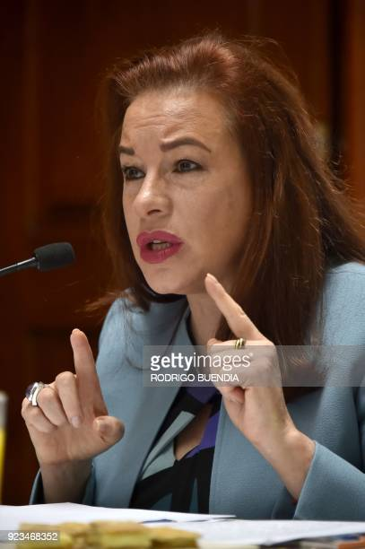 Ecuadorean Foreign Minister Maria Fernanda Espinosa speaks during a press conference in Quito on February 23 2018 An attempt by Ecuador to seek...