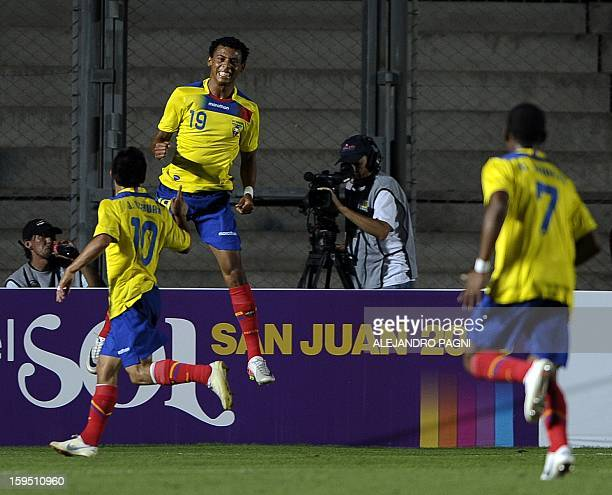 Ecuadorean forward Jose Gutierrez celebrates after scoring the team's second goal against Uruguay during their South American U-20 Championship Group...
