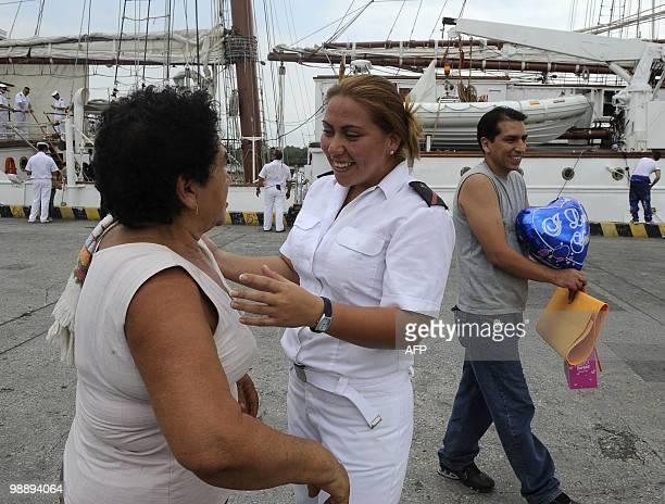 Ecuadorean Jaqueline Jaramillo member of the crew aboard Spanish sailing ship Juan Sebastian De Elcano greets her grandmother upon arrival at the...