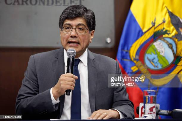Ecuadorean Minister of Foreign Affairs Jose Valencia delivers a press conference at Carondelet Palace in Quito on April 11, 2019. - President Lenin...