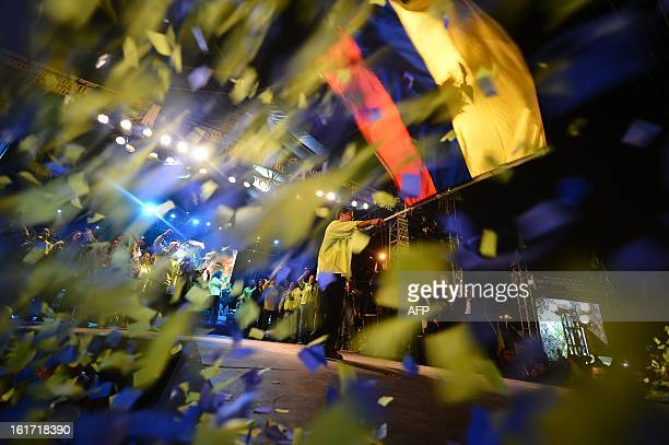 Ecuadorean President and candidate for reelection Rafael Correa during their final political rally in Quito Ecuador on February 14 2013 With a...
