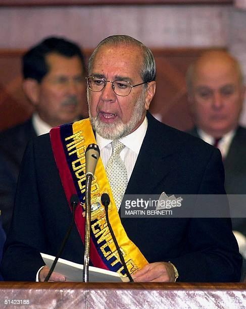 Ecuadorean President Gustavo Noboa speaks to Congress in Quit Ecuador 15 January 2002 El presidente de Ecuador Gustavo Noboa habla ante el Congreso...