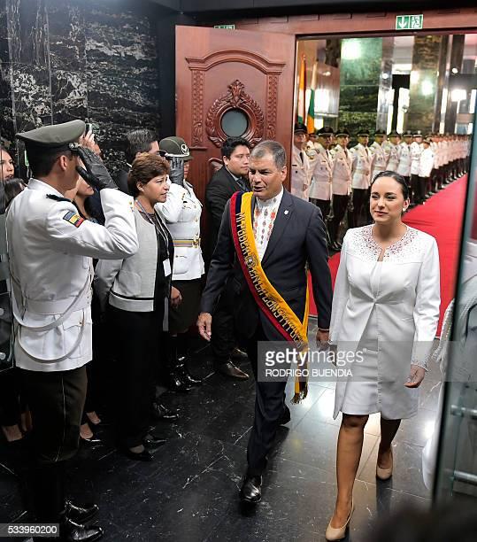 Ecuadorean President Rafael Correa and the president of the National Assembly, Gabriela Rivadeneira, arriving at the legislature where Correa is to...
