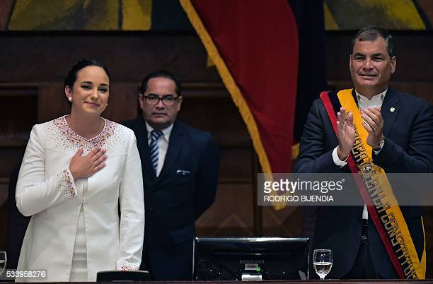 Ecuadorean President Rafael Correa delivers his annual message to the Nation before the National Assembly, the last of his administration, in Quito...
