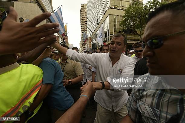 Ecuadorean President Rafael Correa greets supporters during the celebrations for his tenth anniversary in power The won decade in Guayaquil Ecuador...