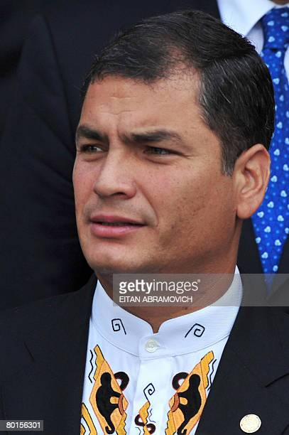 Ecuadorean President Rafael Correa poses for the official photo of the XX Grupo de Rio Summit in Santo Domingo on March 07 2008 Latin American...