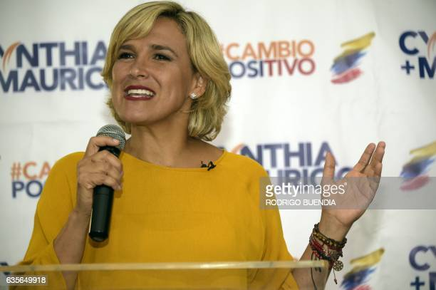 Ecuadorean presidential candidate for the Social Christian party Cynthia Viteri speaks during a press conference in Guayaquil Ecuador on February 16...