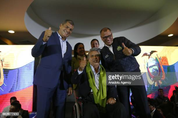 Ecuadorean presidential candidate of the Alianza PAIS party Lenin Moreno and President of Ecuador Rafael Correa wait the final results of the...