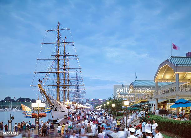 """ecuadorean tall ship guayas docked at harbor place - """"greg pease"""" stock pictures, royalty-free photos & images"""