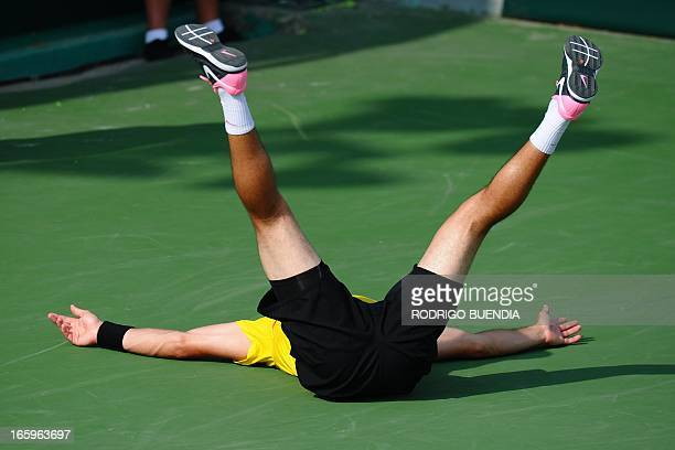 Ecuadorean tennis player Emilio Gomez celebrates the victory against Chile's Christian Garin during their Davis Cup match in Manta Ecuador on April 7...