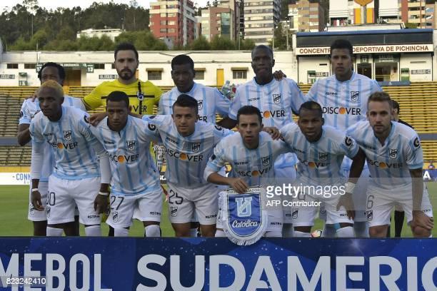 Ecuadorean Universidad Catolica players pose before their 2017 Copa Sudamericana football match against Brazil's Fluminense at the Olimpico Atahualpa...