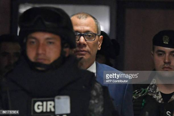 Ecuadorean Vice President Jorge Glas is escorted back to the court room during his habeas corpus hearing at the National Court of Justice in Quito on...