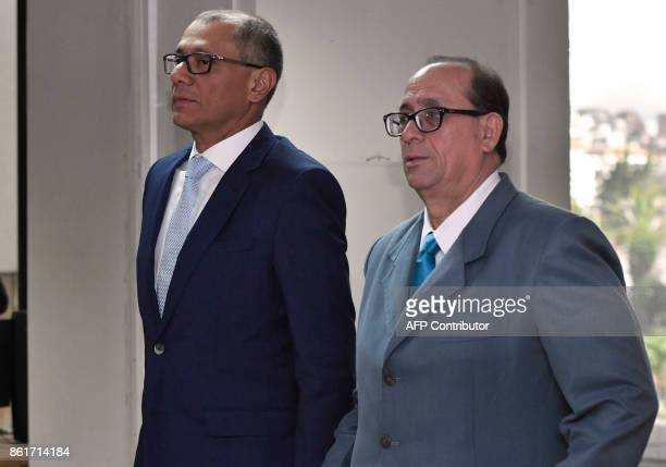 Ecuadorean Vice President Jorge Glas stands near his lawyer Eduardo Franco Loor during his habeas corpus hearing at the National Court of Justice in...