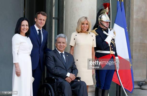 Ecuadorian First Lady Rocio Gonzalez Navas French President Emmanuel Macron Ecuadorian President Lenin Moreno Garces and French First Lady Brigitte...