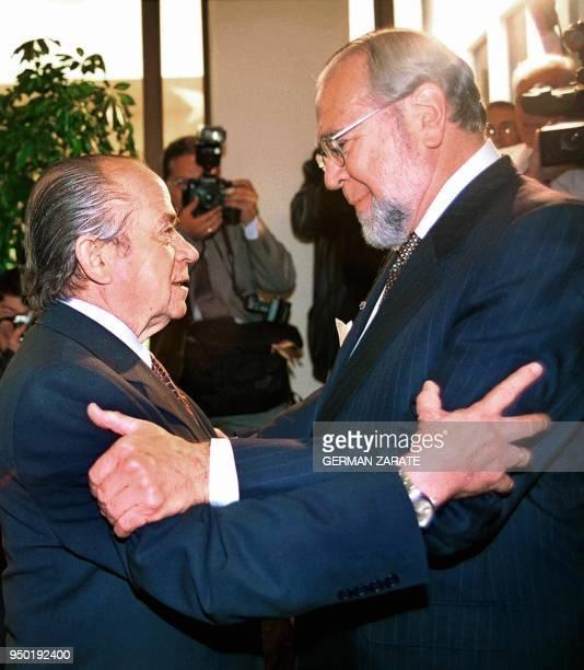 Ecuadorian President Gustavo Noboa is greeted by Andres Zaldivar , president of Chilean Senate, in Valparaiso, Chile, 07 November 2000. Noboa...