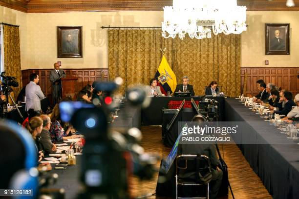 Ecuadorian President Lenin Moreno speaks to the international press at the Carondelet Palace in Quito Ecuador on February 6 2018 The president said...