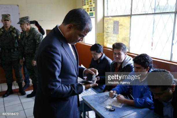 Ecuadorian President Rafael Correa arrives at a polling station to cast his vote for the general elections in Quito Ecuador on February 19 2017