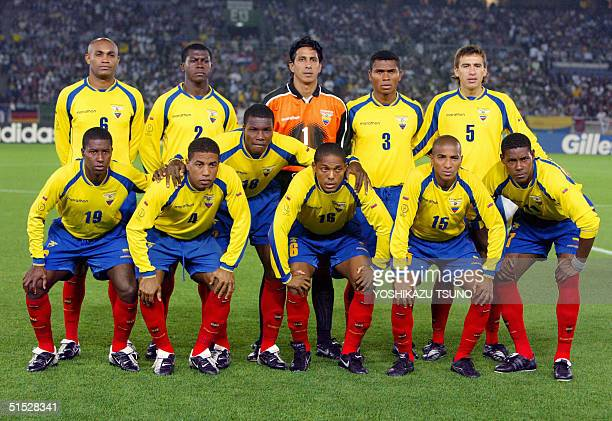 Ecuadorian soccer players pose for photographers before the Group G first round last match Ecuador/Croatia of the 2002 FIFA World Cup in Korea and...