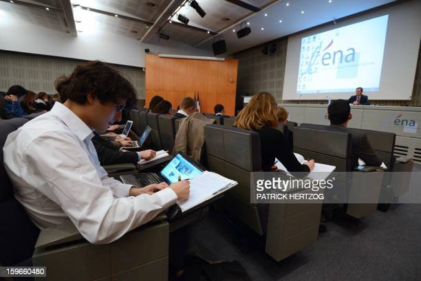 SIMON Ecuadorian student Santiago Davila Valdivieso listens to a teaching staff member in a conference room of the Ecole Nationale d'Administration...