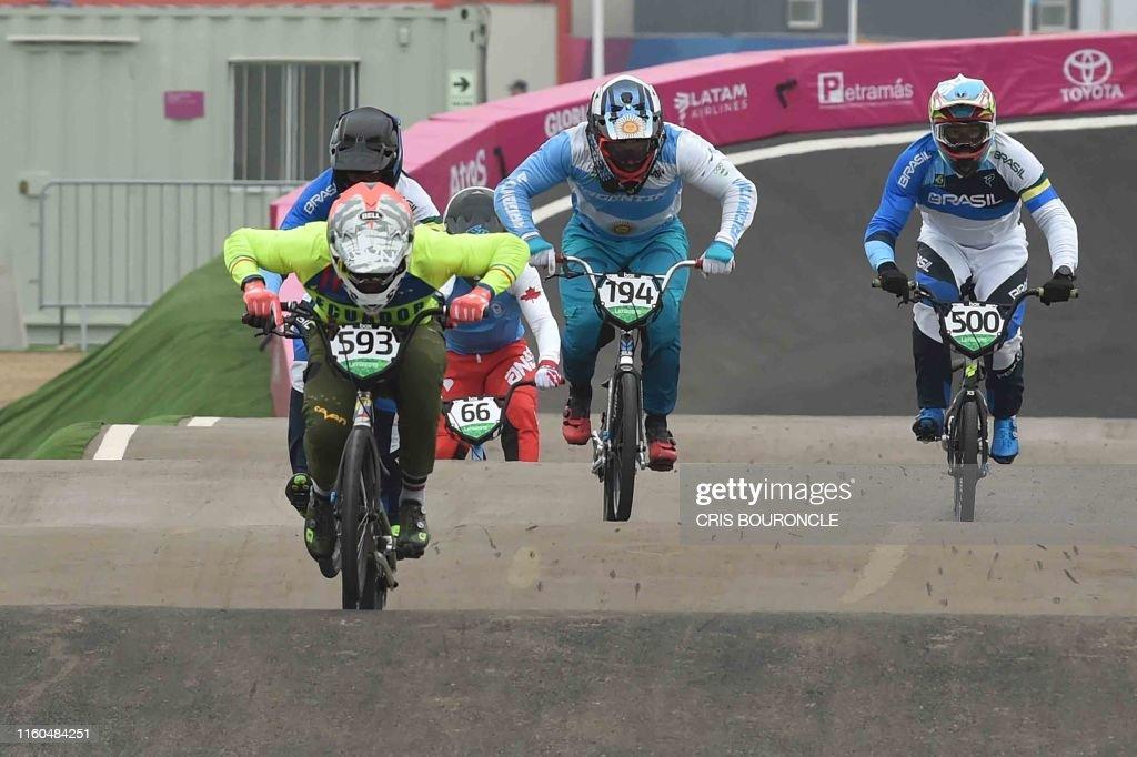 Ecuador's Alfredo Campo competes to win the Men's BMX Race