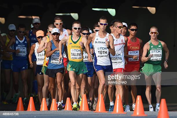 Ecuador's Andres Chocho Australia's Jared Tallent Slovakia's Matej Tóth Poland's Rafal Augustyn and Ireland's Robert Heffernan compete in the final...