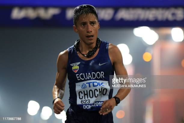 Ecuador's Andres Chocho competes in the Men's 20km Race Walk at the 2019 IAAF Athletics World Championships in Doha on October 4 2019
