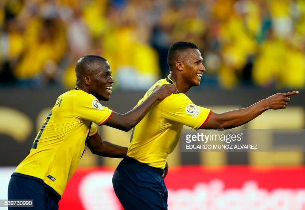 Ecuador's Antonio Valencia celebrates with teammate Enner Valencia after scoring against Haiti during their Copa America Centenario football...