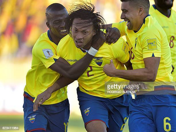 TOPSHOT Ecuador's Arturo Mina celebrates with teammates after scoring against Venezuela during their 2018 FIFA World Cup qualifier football match in...