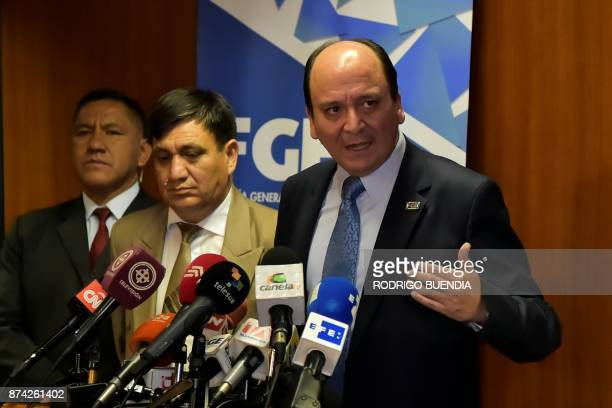 Ecuador's AttorneyGeneral Carlos Vaca speaks after the pretrial hearing for VicePresident Jorge Glas in the National Court in Quito Ecuador on...