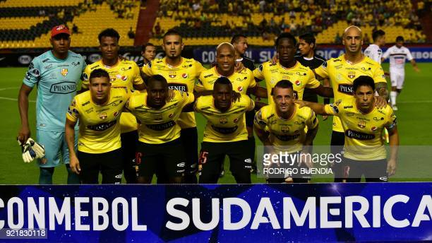 Ecuador´s Barcelona players pose before their 2018 Copa Sudamericana football match at the Monumental stadium in GuayaquilEcuador on February 20 2018...