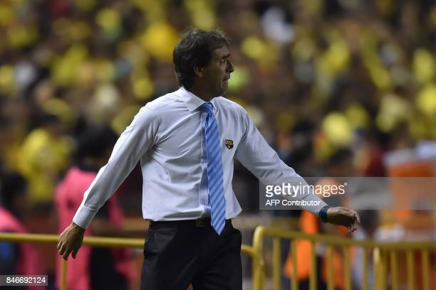 Ecuador's Barcelona team coach Guillermo Almada gestures during their 2017 Copa Libertadores football match at Monumental stadium in Guayaquil...