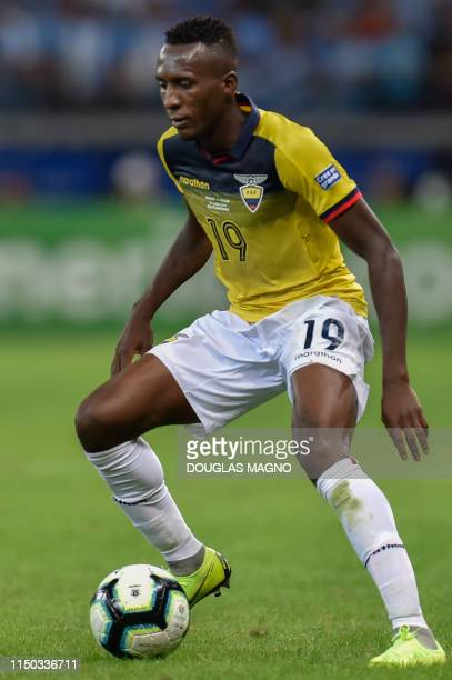 Ecuador's Beder Caicedo controls the ball during the Copa America football tournament group match against Uruguay at the Mineirao Stadium in Belo...