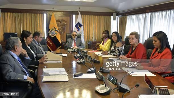 Ecuador's Constitutional Court Manuel Viteri Tatiana Ordenana Francisco Butina Aldredo Ruiz Marien Segura Wendy Molina Ruth Seni and Roxana Silva met...