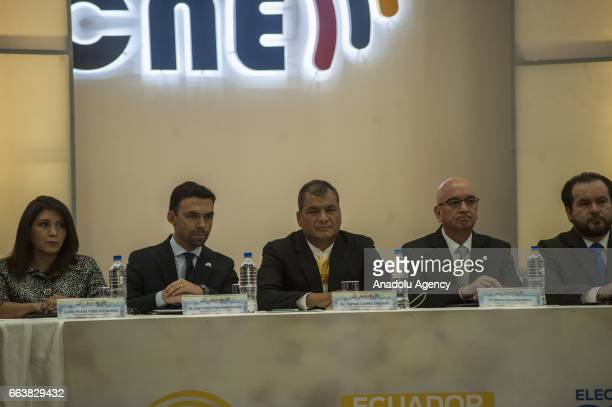 Ecuador's current President Rafael Correa inaugurates the second round of general elections at Ecuador's National Electoral Council in Quito Ecuador...