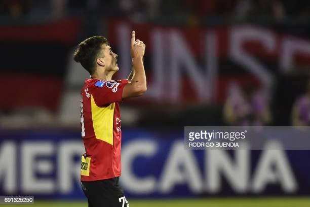 Ecuador's Deportivo Cuenca player Juan Dinenno celebrates his goal against Bolivia's Oriente Petrolero during their 2017 Copa Sudamericana football...