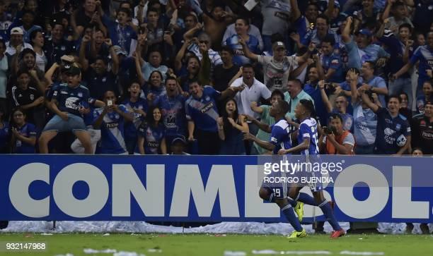 Ecuador´s Emelec Brayan Angulo celebrates his goal with Eduar Preciado against Flamengo from Brazil during their Copa Libertadores 2018 football...