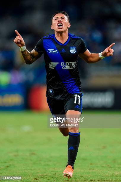 Ecuador's Emelec Joao Rojas celebrates after scoring against Brazil's Cruzeiro during their 2019 Copa Libertadores football match at Mineirao...